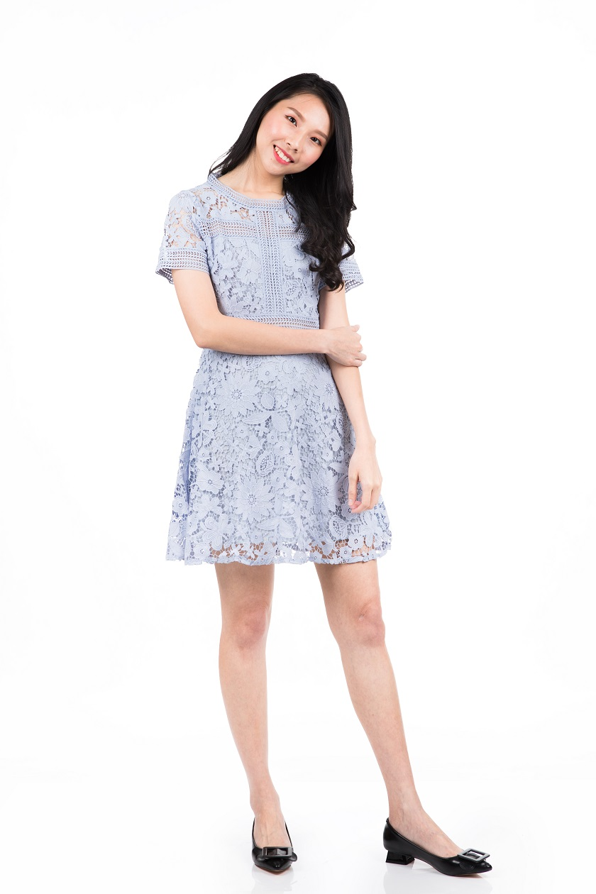 10ec188186 Baby Blue Lace Dress With Sleeves - Gomes Weine AG